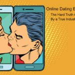 Retro man and woman kissing through a smartphone